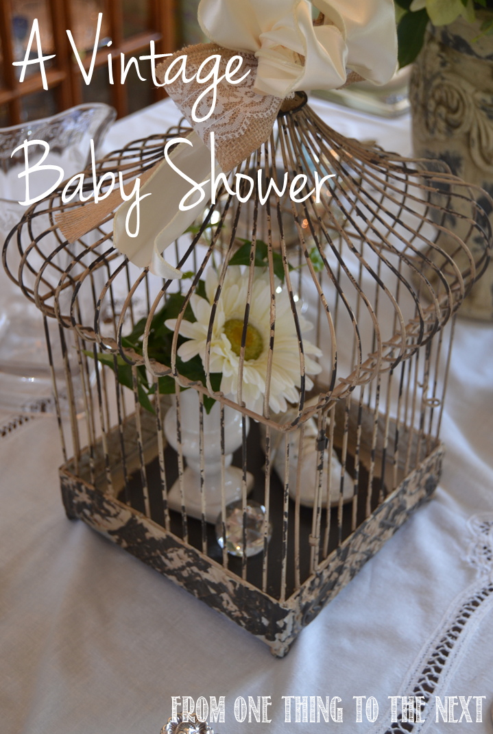 vintage baby shower from one thing to the next